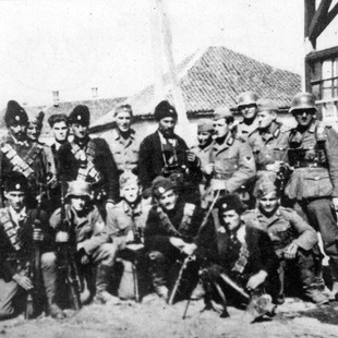 A group of Chetniks pose with German soldiers in an unidentified village in Serbia
